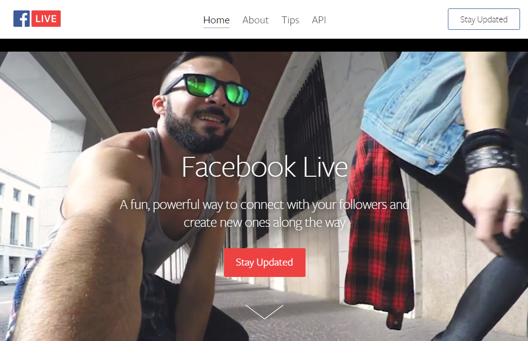 Facebook Live product page