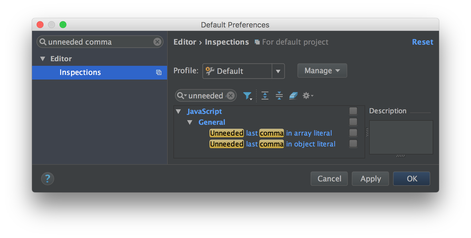 WebStorm 2016.2 disabling unneeded trailing commas